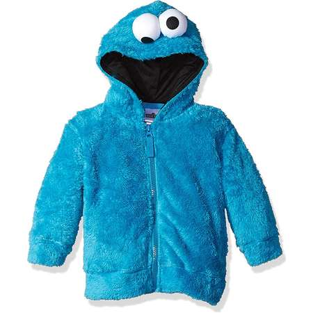 Sesame Street Toddler Girls Cookie Monster Costume Hoodie with Faux Fur and 3D Face thumb