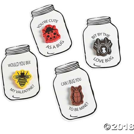 Bug Jar Eraser Valentine Cards thumb