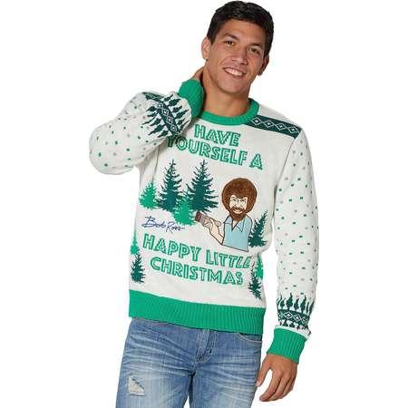 Light Up Bob Ross Ugly Christmas Sweater thumb